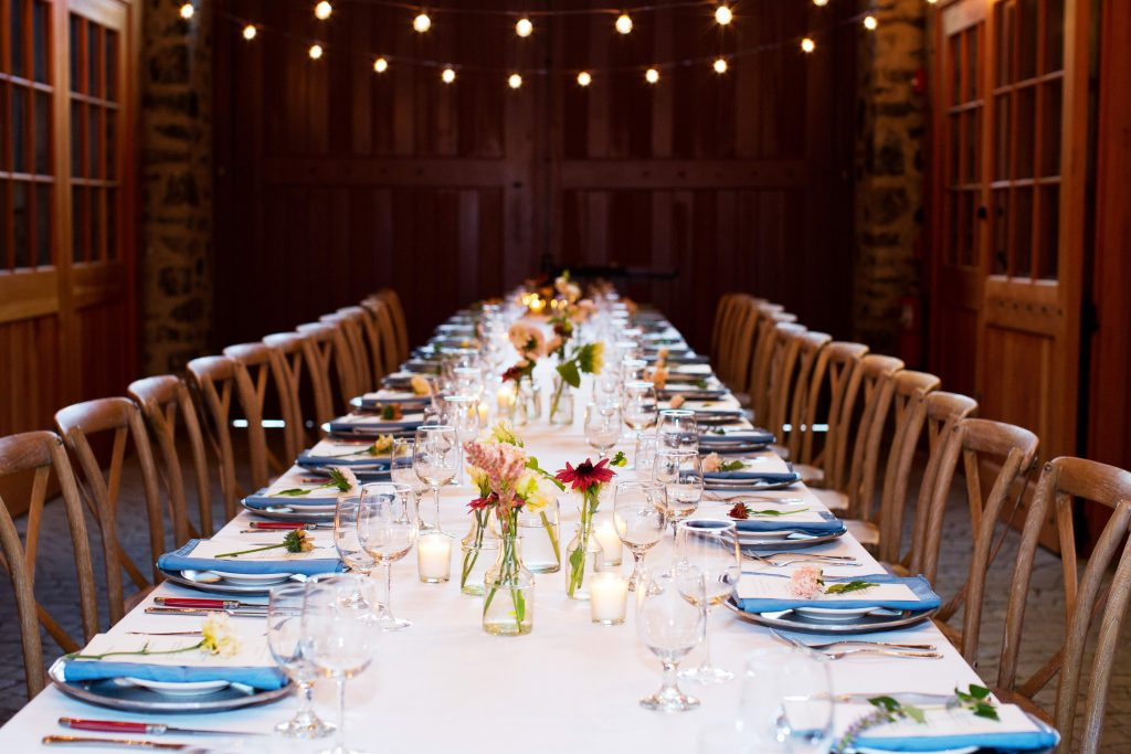 Photo of a table setting for a reception at Grace Winery