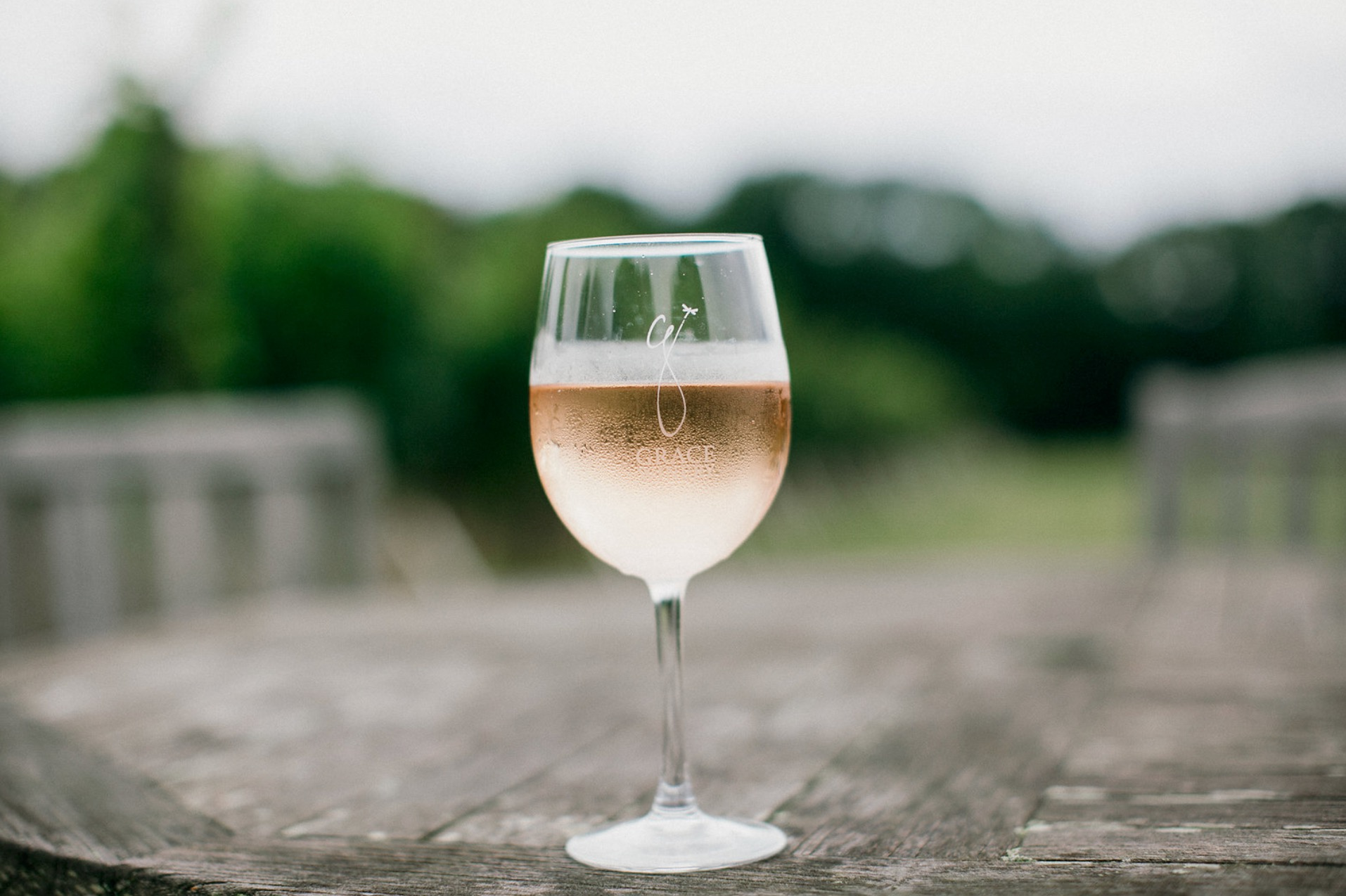 Photo of a glass of wine at Grace Winery