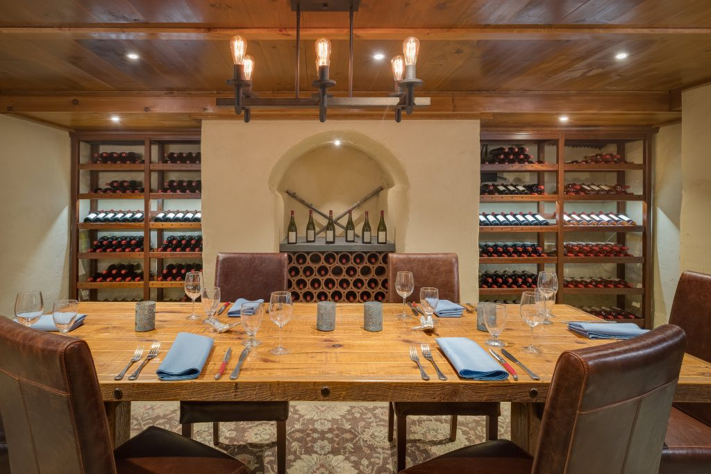 Photo of a table in the wine cellar at Grace Winery