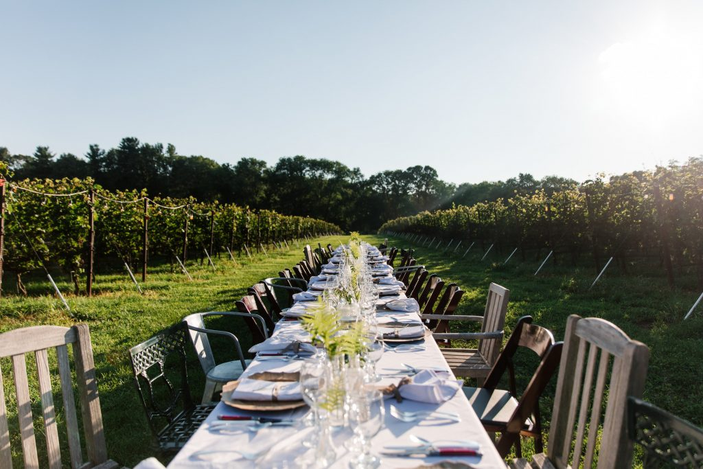 Photo of an outdoor seating arrangement at Grace Winery